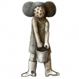 Markus Kasemaa-Figure with Mickey-mouse ears holding a bucket