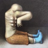 Markus Kasemaa-Multibreasted figure with one hand in blue boots