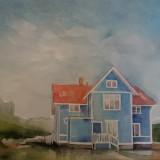 Eva Högberg-Minnet av ett blått hus